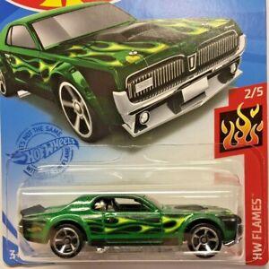 NEW Hot Wheels 68 Mercury Cougar Green Flames Ford 2021 No 207 GTB17 Long Card