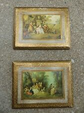 WALL PLAQUES/ VTG. PAIR GOLD VICTORIAN ITALIAN PRINTS - PICTURES/ SHABBY-CHIC