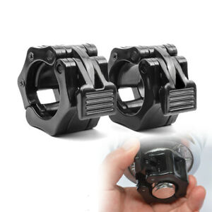 """Gym Standard 1"""" Weight Barbell Bar Clamps Clips 2Pcs Olympic Spinlock Collars US"""
