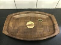 Vintage MCM Weavewood Serving Tray Platter Walnut Minneapolis With TAGS!!