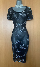 Karen Millen UK 10 Black Embroidered Stretch Tulle V Neck Cap Sleeve Midi Dress
