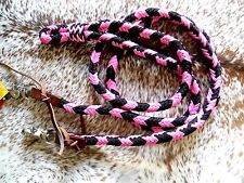 8' PINK Western Roping Barrel Trail Rein Leather Loops & Snaps New Horse Tack