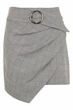 TOPSHOP Monochrome WRAP BELTED CHECK SKIRT. UK 10. *NEW SEASONS, SOLD OUT SKIRT*