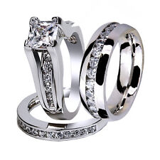 His Hers 3 Pcs Stainless Steel CZ Wedding Engagement Matching Ring Band Set