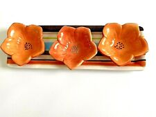 Dipping Bowl Set Tray / Three Flowers Dipping Bowls Hand Painted Very Coulorful