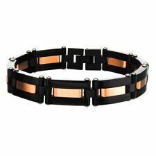 Men's Alternating Black Plated & Rose Gold Plated Link Bracelet