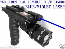 BLUE LASER+700 Lumen STROBE Flashlight+Dim Light Combo Sight+Rifle Foregrip