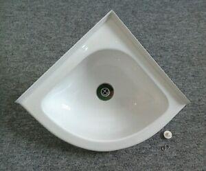 Caravan Motorhome Boat Bathroom White Plastic Corner Sink & Angled Outlet SN9B