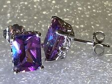 14K Solid Gold Natural Mystic Topaz Earrings Stunning In Beautiful Set