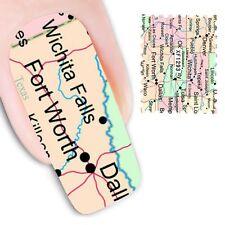 NAIL Art Adesivi Decalcomanie acqua trasferimento adesivi USA AMERICA STATI mappe (dx1293)