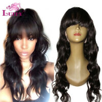 Body Wave Peruvian Human Hair Full Lace Wigs With Bangs Glueless Lace Front Wigs