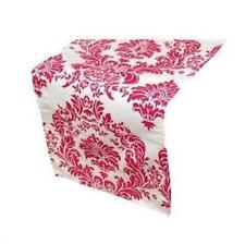 blanco y fucsia rosa damasco estampado Camino de mesa