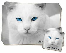 White Cat 'Love You Mum' Twin 2x Placemats+2x Coasters Set in Gift Bo, AC-6lymPC