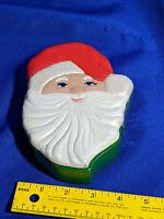 70s VTG Ceramic Mold Painted Santa Claus Trinket Box Mini Cookie Jar Xmas