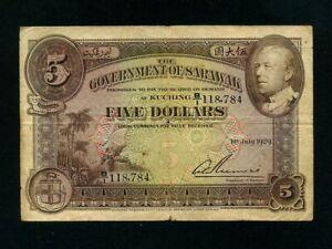 Sarawak:P-15,5$,1929 * C. Vyner Brooke * RARE * F+ *