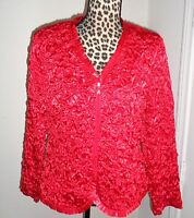 MSK Red Satin Ruffled Gathered Dressy Evening Zip Top Jacket Size L NWT