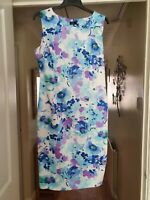 F&F Pretty White Mix Smart Dress, Sleeveless, Floral, Fit & Flare, Size 14, VGC