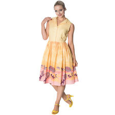 Dancing Days Parasol Yellow 1950s Retro Vintage Flared Summer Swing Sun Dress