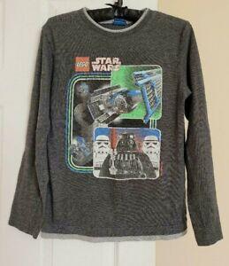 Star Wars Lego Boys Large Long Sleeve Tee Shirt 10-12 Gray