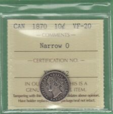 1870 Canada 10 Cents Silver Coin - ICCS Graded VF-20