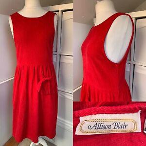 Vintage Allison Blair Bright Red Cord Pinafore Dress Size S Pocket Corduroy