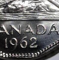 Canada 1962 Die Chip on A Error Five Cents Gem BU!!