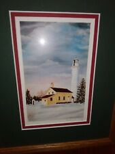 Cana Island lighthouse (Wisconsin), framed, matted photo, Audrey m Casey, sgnd