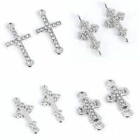 10Pcs Silver Plated Crystal Cross Connector Charm DIY Jewelry Craft Making