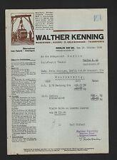 BERLIN, Rechnung 1939, Walther Kenning Maschinen-Kessel-Geldschrank-Transporte