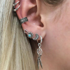Retro Moon Heart Dream Catcher Ear Cuff Stud Drop Clip Earrings Set For Women K