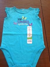 "NWT Jumping Beans Baby Girl 12M Teal Blue Bodysuit Says, ""My Daddy Spoils Me"""