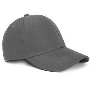 Men's Women's Baseball Caps Plain Hook-N-Loop Adjustable Solid Hat Polo D-Gray