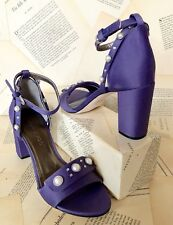NIB Anthropologie Bernardo purple Satin Pearl Crystal Ankle Strap Heel Sandals 9