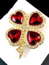 RARE KENNETH J. LANE RUBY RED HEART CRYSTAL RHINESTONE VALENTINE SHAMROCK BROOCH