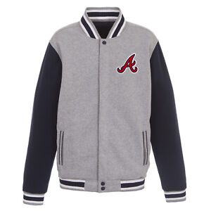 MLB Atlanta Braves Reversible Full Snap Fleece Jacket JH Design Front logos