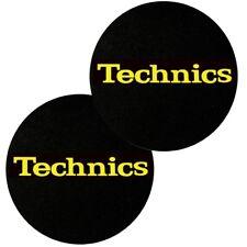 TECHNICS SLIPMATS coppia di panni sottodisco per giradischi (BLACK LOGO YELLOW)