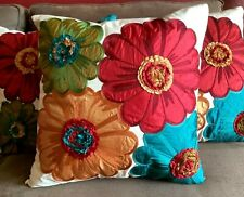 """Pier 1 Imports Embroidered Floral Pillow Red Blue Green Yellow 18"""" x 18"""" NWT"""