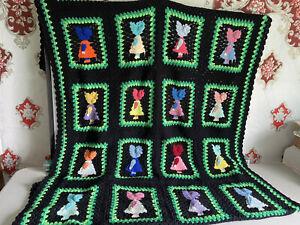 VINTAGE BOHO Afghan Blanket Throw Black & Multicolor Little girls 57x 92