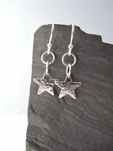 Sterling Silver 925 Star Earrings - Hammered Sparkly Textured - Handmade In U.K.
