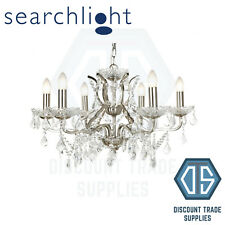 8736-6SS SEARCHLIGHT 6 LIGHT CHANDELIER, CLEAR CRYSTAL DROPS & TRIM, SATIN