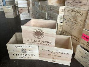 Wooden Wine Box Crates x3 - 6 Bottle Size - Genuine - Storage Gardening Hamper