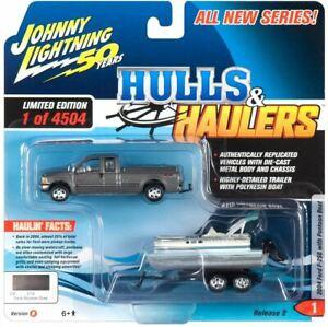 "1:64 2004 Ford F-250 w/Pontoon Boat -- ""Hulls & Haulers"" -- Johnny Lightning"