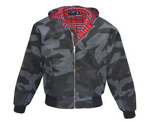 Heavy KB Hooded Harrington Jacket Splinter Tartan Lined Punk Skinhead Kapuze