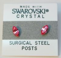 Pink Oval Stud Earrings 8mm Circle Crystal Made with Swarovski Elements