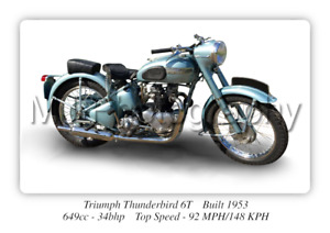Triumph Thunderbird 6T Motorcycle A3 Size Print Poster on Photographic Paper