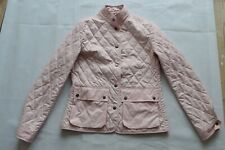 Burberry Light Pink Diamond Quilted Popper Nova Check Jacket Coat Womens UK 10