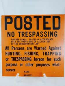 """New York DEC Sign Posted Cooperative Area No Trespassing 11.25"""" Double Sided"""