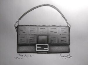 """FENDI BAGUETTE by SERGIO MATA drawing on paper, 11"""" by 14"""", 2021, Luxury Pop Art"""