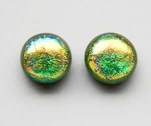 Dichroic Glass Sterling Silver Stud Earrings - Gold Green Iridescent Rainbow