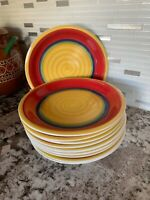 "Royal Norfolk MAMBO Bright Primary Striped 10 3/4"" Dinner Plates EUC"